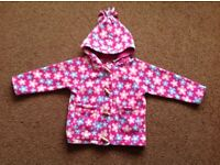 Jojo Maman Bebe Age 2-3 girls fleece toggle jacket pink flowery