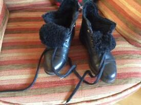 Bally fur lined black Ankle Boots.