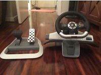 steering wheel and pedals