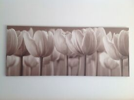 IKEA STUNNING WALL LARGE LONG FLOWER CANVAS, beige/ cream/neutral - IMMCALUATE -LEICESTER