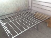 Double bed silver metal frame and mattress