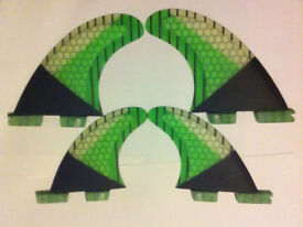 SURFBOARD FINS Honeycomb/Carbon FCS II 2 Surf Fin,M5 Quads Pro core Green