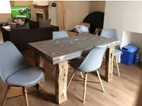Bespoke Dining Table With 18th Century Oak Beam Legs & 4 Chairs - Shabby Chic
