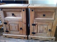 2 Solid Wood Rustic Oak Bedside Tables Cabinets with Drawers & Cupboards / Can Deliver