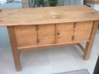 Old French pine & oak refectory table with useful & unusual cupboard below & drawer. Kitchen, dining