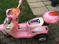 Girls pink electric ride on scooter
