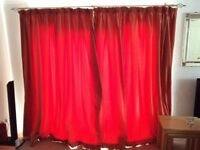 Pair of quality lined coral curtains measuring 212cm high by 260cm wide each for patio doors