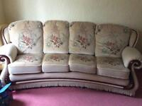 Sofa suite: large sofa, 2 armchairs, leg rest