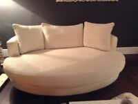 Cream/white dfds sofa with large snuggler chair