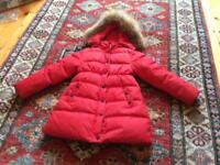 Girls padded down winter coat - red- excellent condition