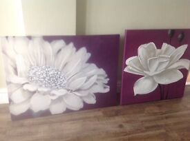 2 large canvas flower pictures