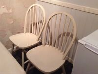 Pine painted Kitchen table and 4 Chairs