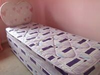 CHILDS 2Ft 6 LILAC/PINK BED MATTRESS WITH HEART SHAPED HEADBOARD