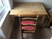 Pine table and chair