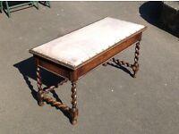 Antique Oak Piano Stool with Upholstered Seat & Storage