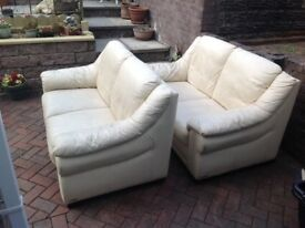 x2 leather settees
