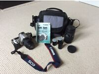 Canon EOS 300 film camera inc Sigma 70-300mm lens, film roll and carry case