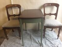 Up-cycled Pembroke style table and two chairs £70