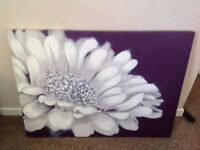 Canvas wall hanging purple with flower