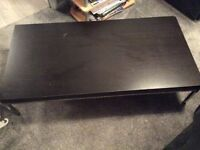 Black coffee table with chrome legs