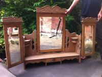 Large Antique French Dressing Table Mirror & FREE Project Chest of Drawers for Renovation