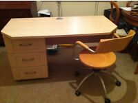 beechwood desk with drawer unit and swivel chair