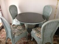 Wicker Table and Chairs Set. £50