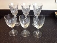6 Lead Crystal Wine Glasses