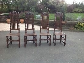 Dining chairs 4 antique high back oak Charles II style c1780