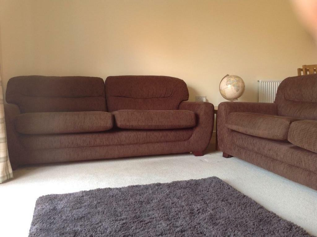 X2 Large Dfs Chocolate Brown Sofas In Exeter Devon