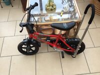 Boy's 10/12in bike with stabiliser and balance buddy.