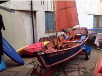 Handbuilt Wooden Sailing Rowing Skiff Sandpiper 16ft 2 years old with Outboard Road Trailer , Oars