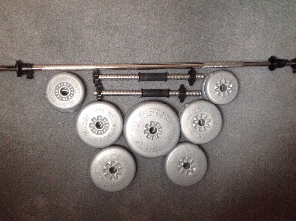 York weight training bars and weights.