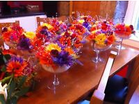 Colourful bouquets, table/cake flowers, favours, placecards and other pieces