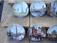 Hand painted Scenes of Paris plates