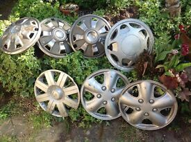 Various Wheel trims 3 Metal 4 Plastic-Clearing my shed.FREE. COLLECT