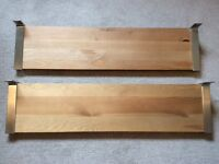 Two Ikea Wooden Shelves with brackets