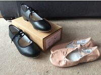 Black, low heel tap shoes, size 6.5