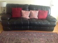 Quality black leather electric 3 seater reclining sofa in excellent condition large size £250 ono