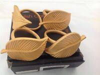 Napkin Rings Gold Leaf Stylish in Box New