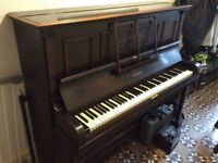 Upright piano with mother of pearl inlay