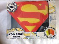 New un opened DC Comics Originals Superman Money Box Coin Bank with Lollies