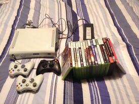 Xbox 360 with 3 controllers and 17 games