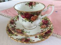 """Royal Albert 1st Quality """"Old Country Roses"""" Bone China Trio."""