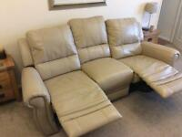 2 and 3 seater reclining settees from furniture village double thickness leather