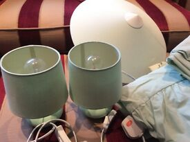 Pair of Bedside Lamps and Uplighter