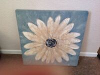 Canvas wall hanging blue with. Flower