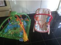 Fisher Price rainforest musical play gym & Chad valley rocker chair