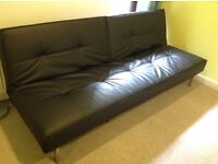 Modern Black leather look sofa bed with aluminium frame & legs