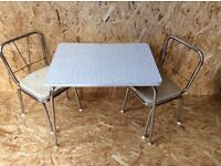 VINTAGE RETRO MID CENTURY CHILDS KIDS FORMICA TABLE & CHAIRS 1950s 50s 60s